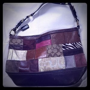 Coach Brown Color Block Patch Hobo